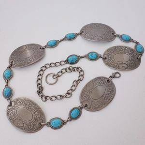 Southwestern Boho Silver Concho Belt Turquoise